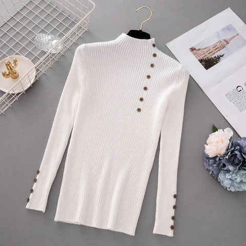 Button Turtleneck Solid Knitted Sweater