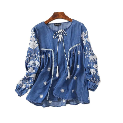 Casual Denim Lace Up Lantern Sleeve Ethnic Vintage Embroidery Blouse
