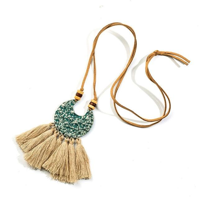 Vintage Boho Tassel Necklace Bohemian Ethnic Alloy Long Fringed Pendants