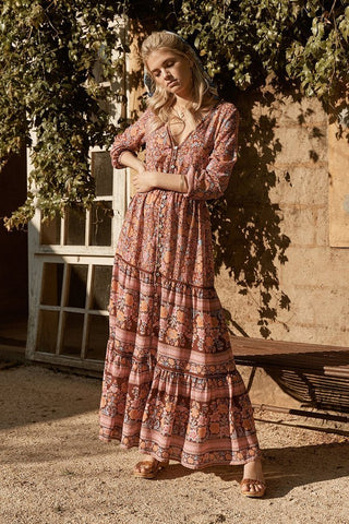Boho Hippie Button Floral Print Maxi Dress