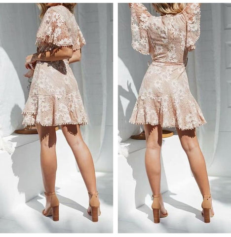V Neck Lace Floral Embroidery Dress
