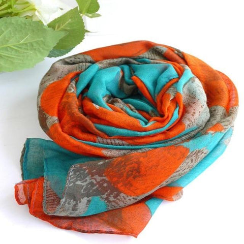 Vintage Long Soft Cotton Voile Print Autumn Scarf