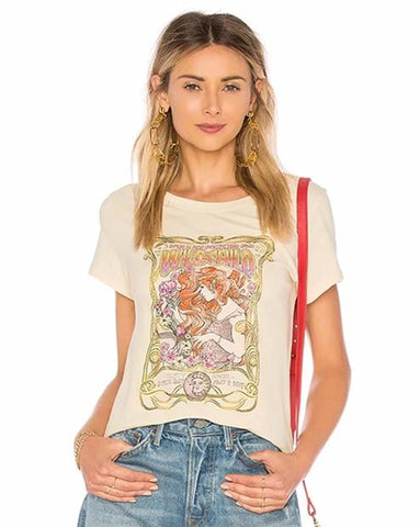 Boho Gypsy Girl Print Cotton T-shirt