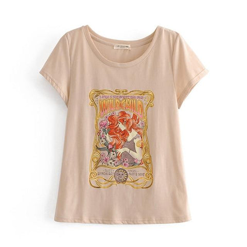 Boho Chic Wild Child O-Neck Tee Shirt