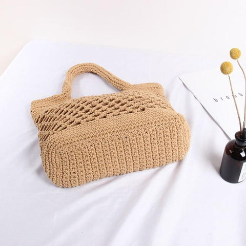 Bohemia Handmade Handbag Cotton Rope Weaving Shopping Tote