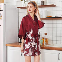 Silk Satin short Wedding Bride Bridesmaid Robe Kimono Sleepwear