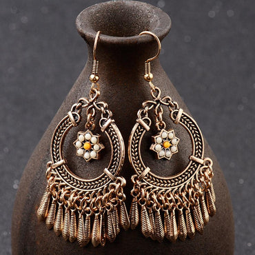 Vintage Ethnic Tassel Hanging Dangle Drop Earrings