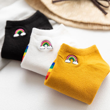 Bright Sunny Cotton Rainbow Bridge Ankle Socks