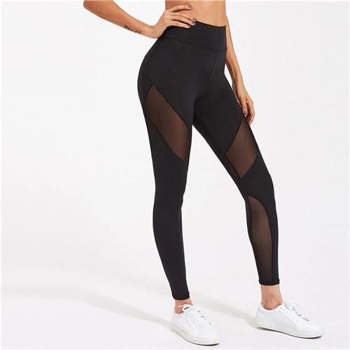 Mesh Panel Zip Detail Activewear High Waist Skinny Legging