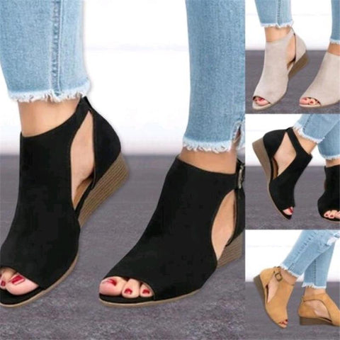 Gladiator Leather Flat Platform Casual Sandals