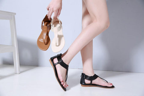 Flat Retro Gladiator Sandals  Boho Bohemia Beach Strap Sandals