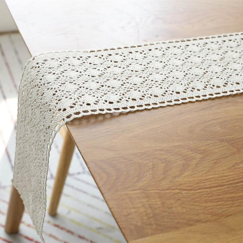 Beige Lace Crochet Table Runner
