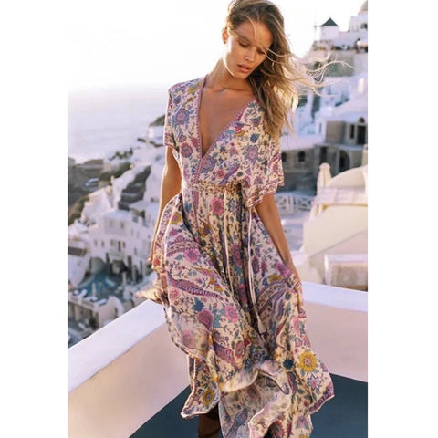 Retro Boho Floral Sashes Print Maxi Dress