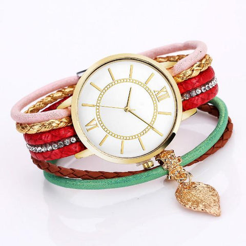 Casual Winding Watches Ladies Bracelet Bohemian Style Alloy Round Wristwatch