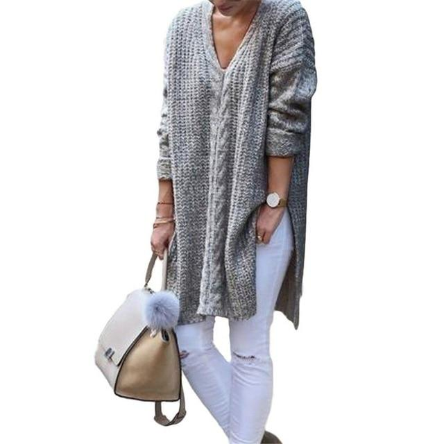 Split Long Sleeve Loose Oversized Knitted Sweater