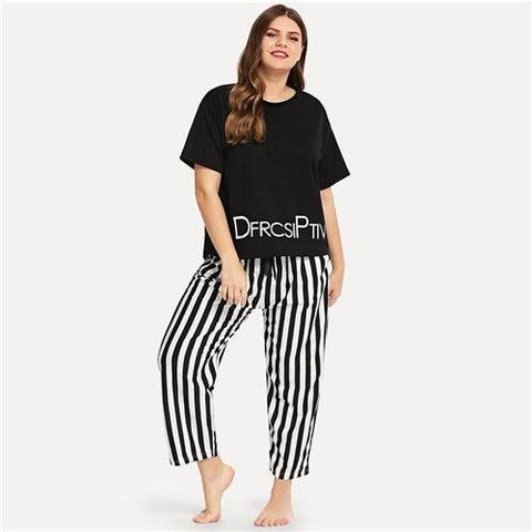 Plus Size Letter Print Striped Pajama Set