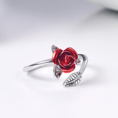Red Rose Garden Flower Leaves Resizable Finger Ring
