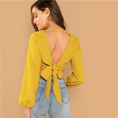 Yellow V Neck Backless Cut Out Knot Wrap Crop Sexy Blouse