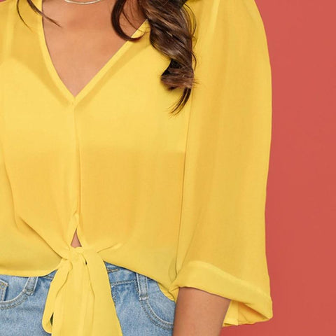 Yellow Solid Bell Sleeve Knot Crop Casual Blouse Without Bra