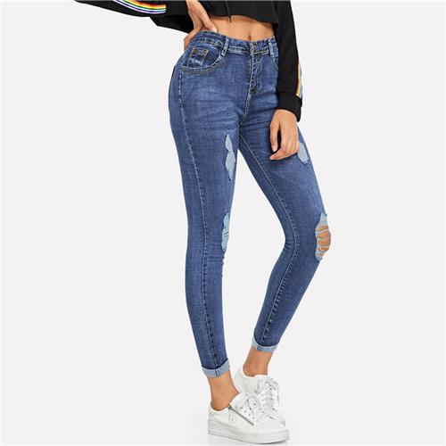 Blue Roll Up Ripped Skinny Jeans