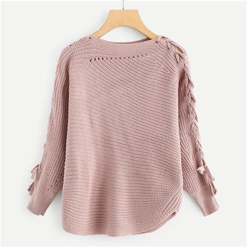 Casual Pink Lace Up Solid Sweater