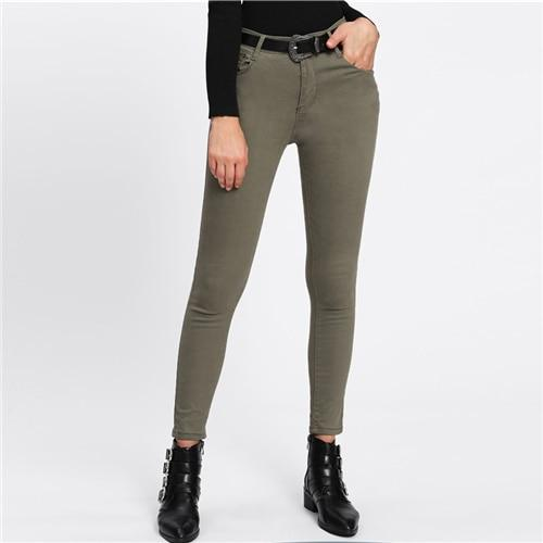 Skinny Ankle Army Green Denim Jeans