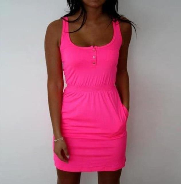 Candy Color Slim Mini Bodycon Tropical Boho Casual Dress