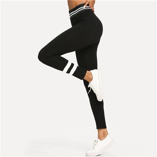 Black Striped Skinny Sporty Spring Leggings
