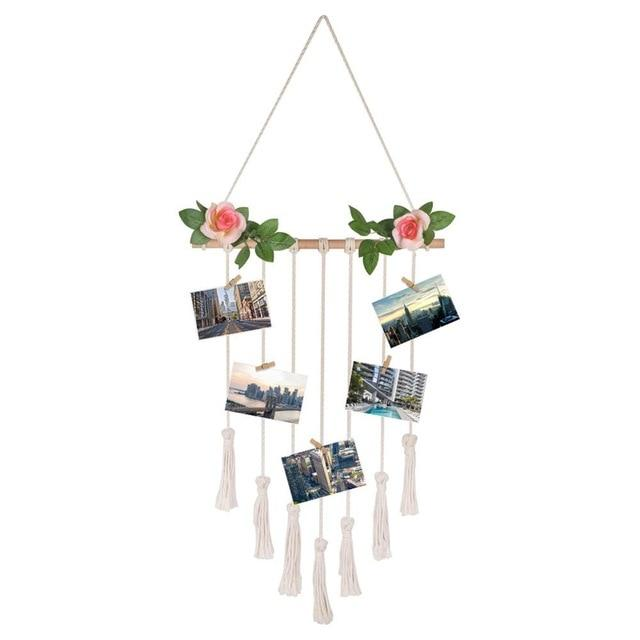 Macrame Boho Wall Hanging Photo Display Handmade Hanging Backdrop Tapestry