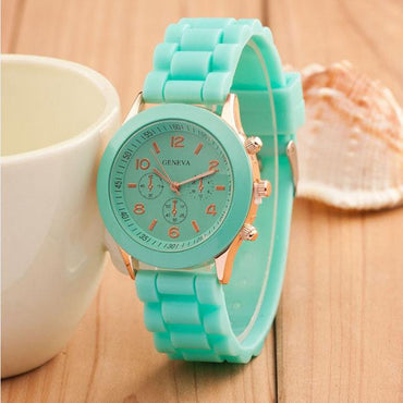 Silicone Rubber Jelly Gel Quartz Clock Analog Sports Women Wrist Watch
