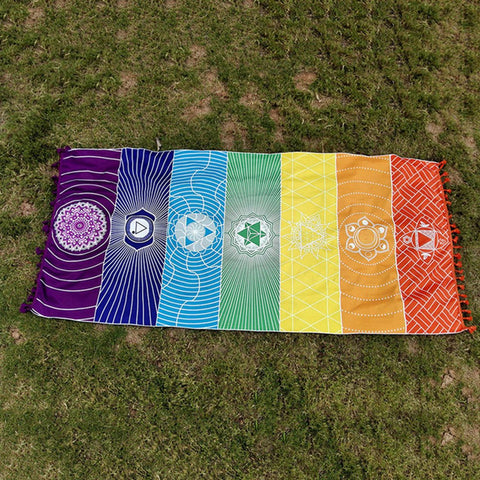 Yoga Mat Rainbow 7 Chakra Stripes tapestry