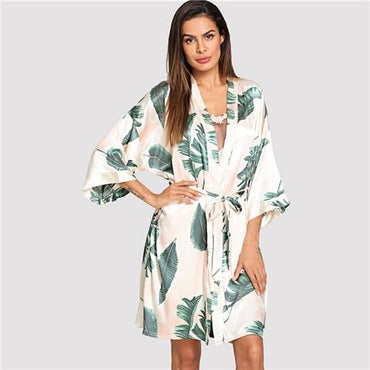 Tropical Print Self Tie Robe Pajamas