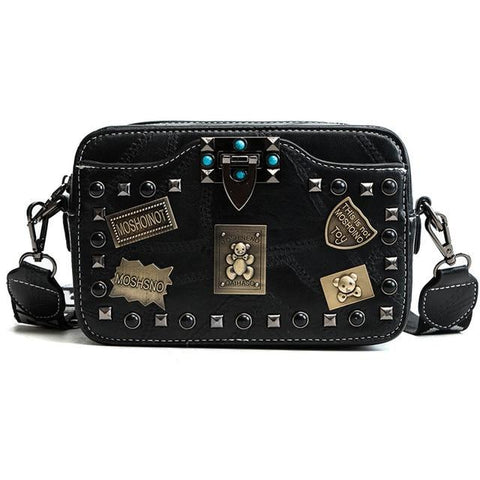 Metal badge Rivet Small square vintage pearl lock patchwork Crossbody bags