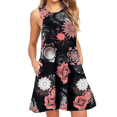 Summer Casual Sleeveless Floral Printed Swing Dress Sundress