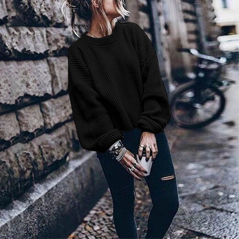 O-neck Solid Color Lantern Pullover Sweater