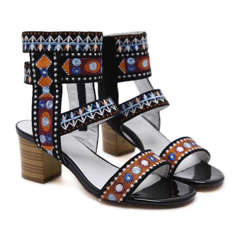 Gladiator Sandals Thick Block Heeled Woman Pumps Vintage Bohemia Embroidery Shoes