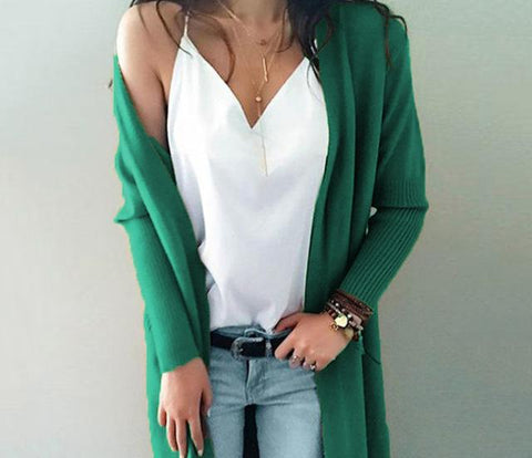 Khaki Solid Knit Long Cardigan