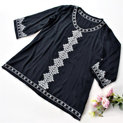 Black Embroidery Round Neck Long Sleeve Mini Dress