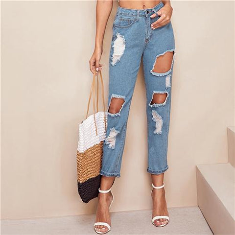 Blue Destroyed Ripped Detail Cut-out Crop Jeans