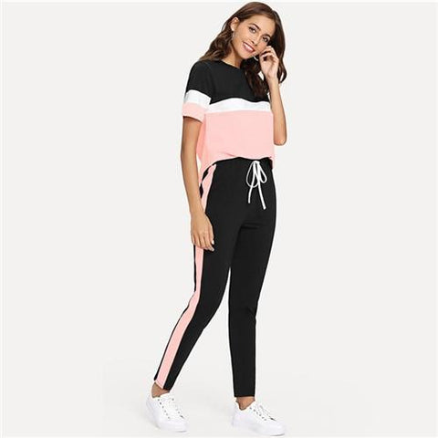 Color Block Tee And Drawstring Tape Pants Set