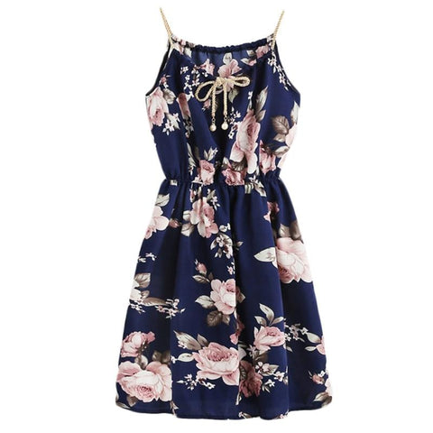 Summer Floral Print Adjustable Spaghetti Strappy Beach Dress