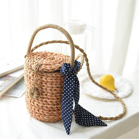 Woven Handmade Bucket Shaped Shoulder Bag
