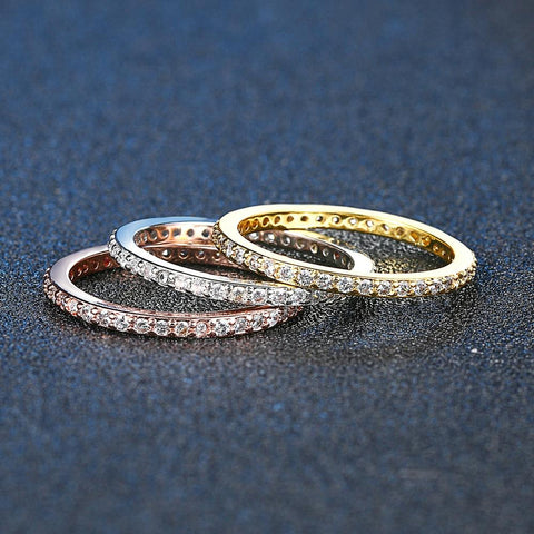 Concise Classical Mini CZ Diamod 3 Color Rose Yellow White Color Ring Set