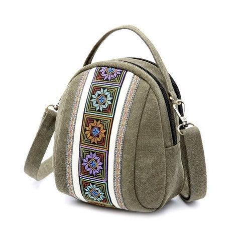 National Embroidery Canvas Zipper Coin Purse Shoulder Bag