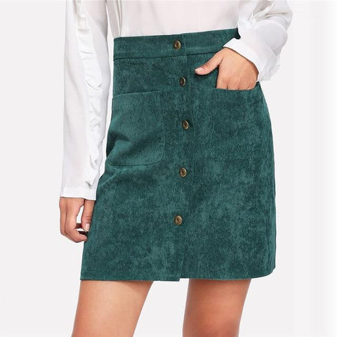 Single Breasted Dual Pocket Corduroy Skirt
