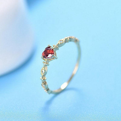Simple Rose Heart Plated Gold Crystal Jewelry Ring