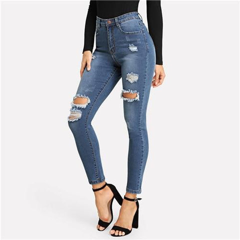 Blue Faded Wash Ripped Casual Mid Waist Denim Skinny Jeans