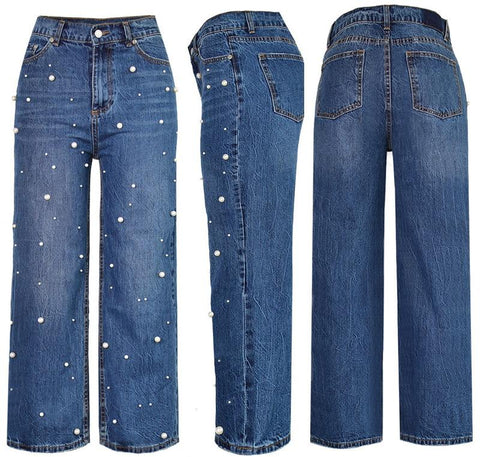 Retro Stretch Pearl High Waist Wide Leg Pants Jeans