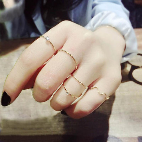 Wave Ring Set Boho Stackable Rings