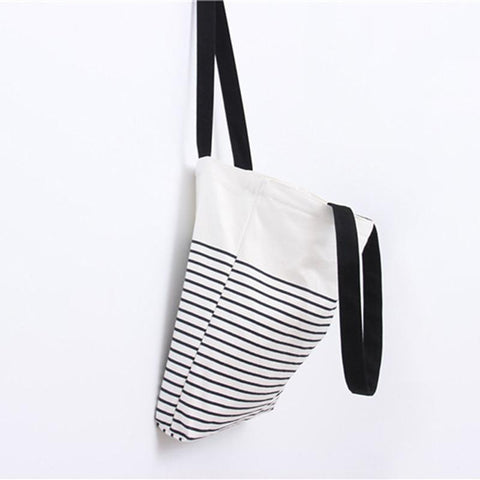 Canvas Bohemian Style Striped Casual Tote Shopping Bags